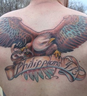 Full back eagle military style tattoos