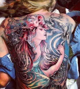 Full back painting tattoo