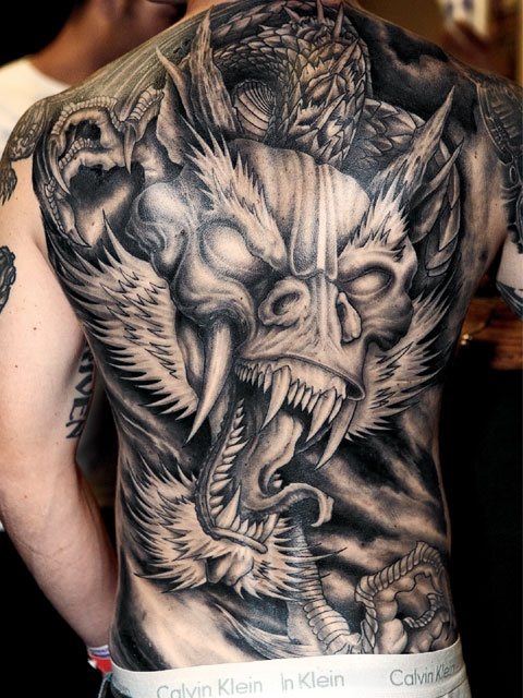 Full men back dragon tattoo