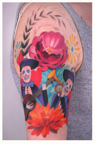 Funny hand watercolor tattoo