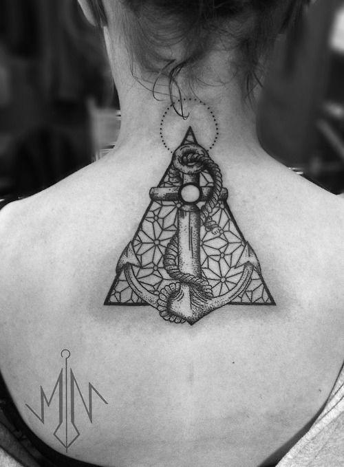 Geometric girl's tattoo made by Berlin artist