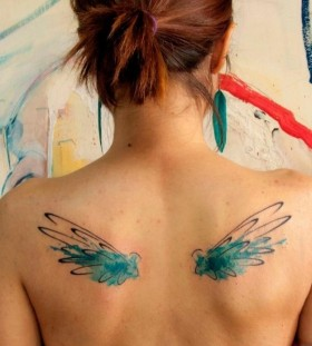 Girl wings painting tattoo