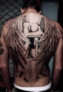 Gorgeous back wings tattoo