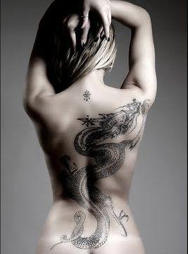 Gorgeous woman dragon tattoo