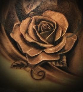 Grey rose realistic tattoo