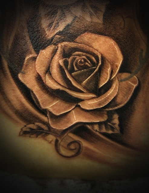 Grey rose realistic tattoo