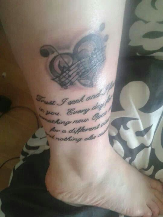 Heart and words music style tattoo