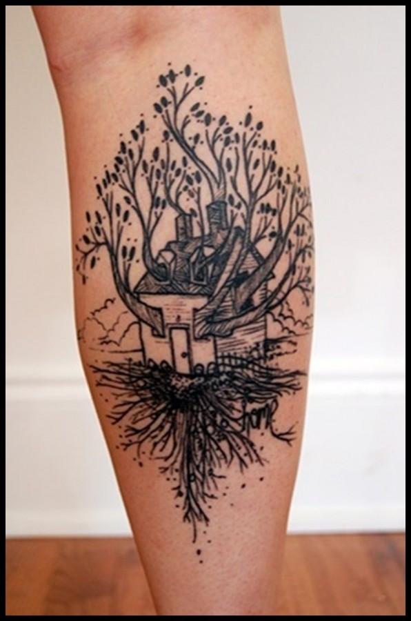 House and tree tattoo