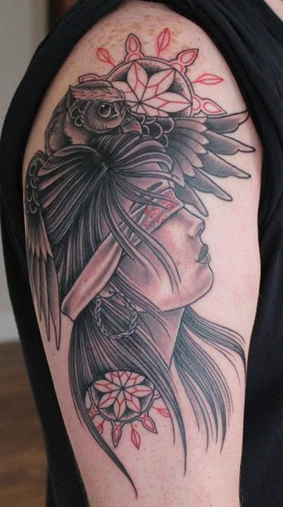 Indian girl and owl tattoo