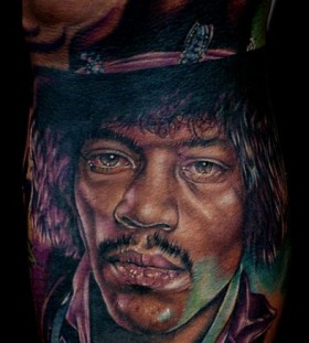 Jim Hendrix famous people portrait tattoo