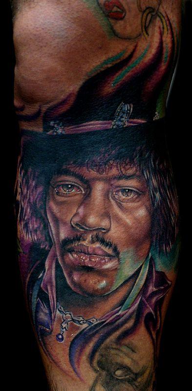 Jim Hendrix famous people portrait tattoo