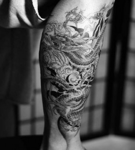 Leg dragon tattoo