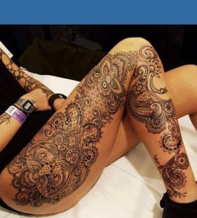 Leg lace tattoo