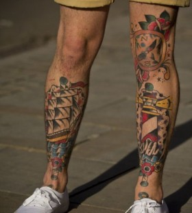Legs watercolor tattoo