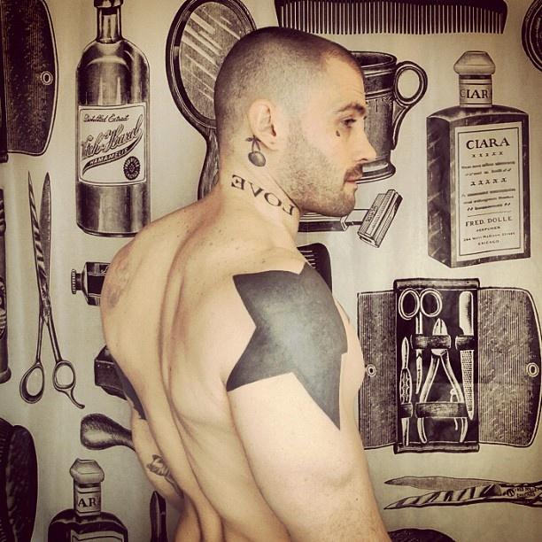 Love and star tattoo