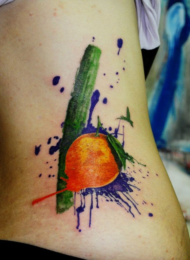 Lovely apple painting tattoo