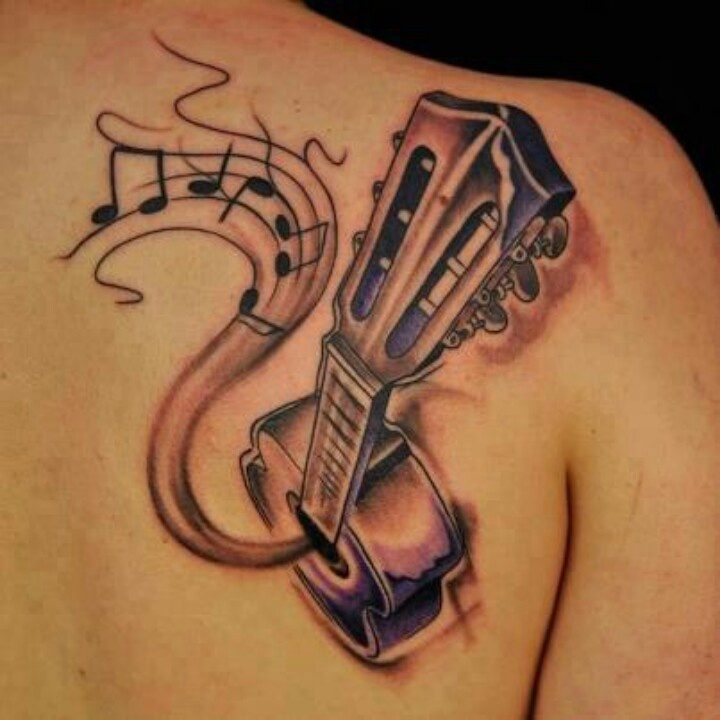 Lovely men's shoulder guitar tattoo