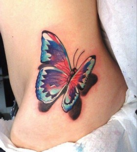 Lovely woman butterfly tattoo