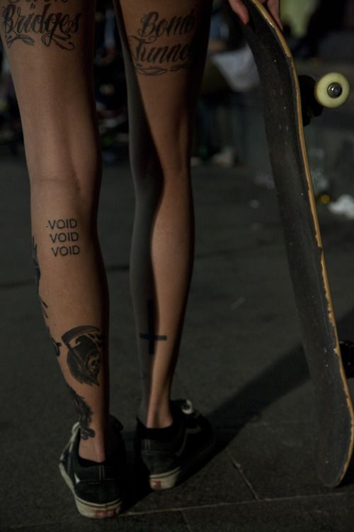 Lovely words legs tattoo