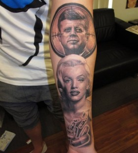 Marilyn Monroe and Kennedy american president tattoo