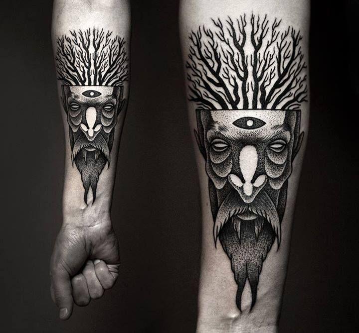 Men and tree tattoo