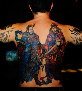 Men full back asian tattoo