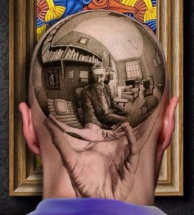 Men head realistic tattoo