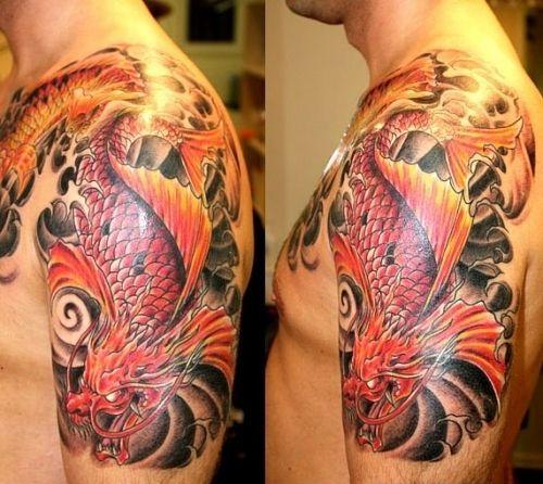 Men shoulder dragon tattoo