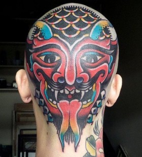 Men's head tattoo by Dustin Barnhart