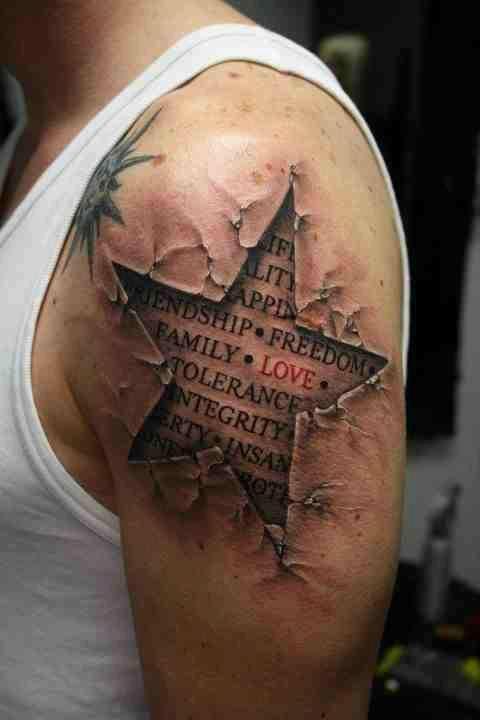 Men's star tattoo