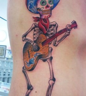 Mexico skull guitar tattoo