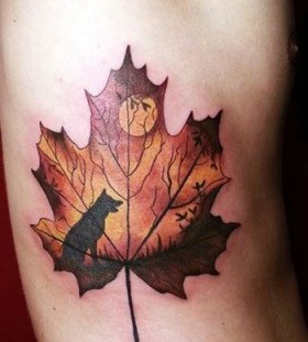 Moonlight and wolf leaf tattoo
