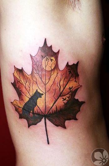 Moonlight and wolf leaf tattoo