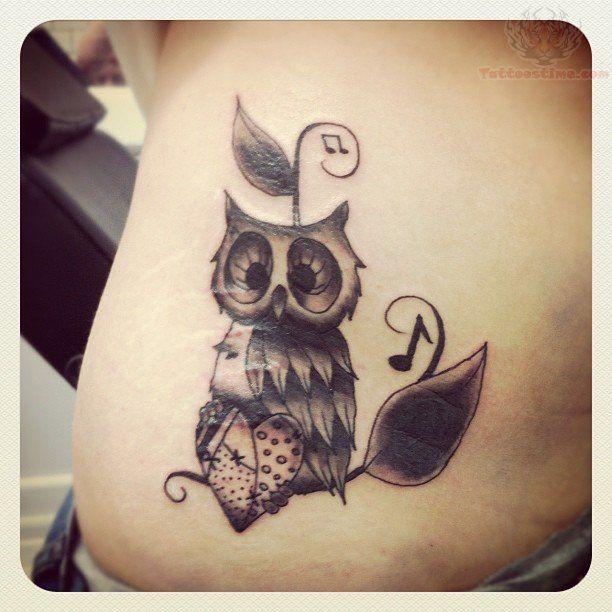 Music, heart and owl tattoo