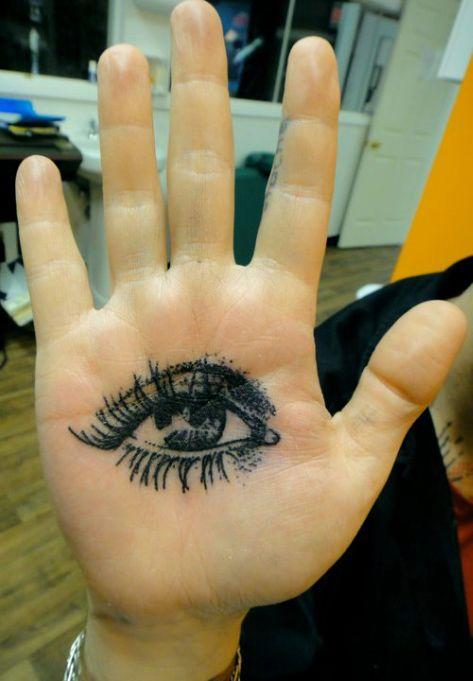 Palm eye tattoo