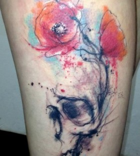 Pink flowers tattoo by Adam Kremer