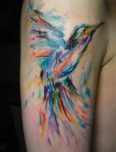 Pretty bird painting tattoo