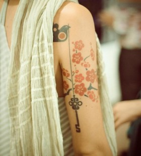Pretty flowers red tattoo