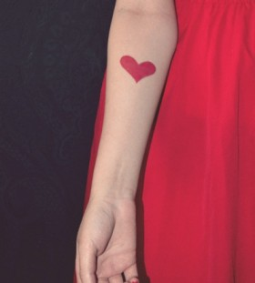 Pretty heart red tattoo