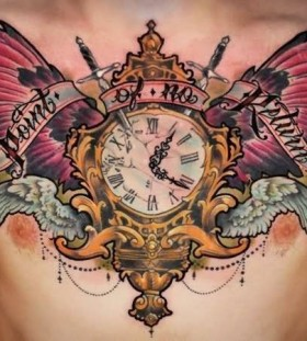 Realisti clock tattoo on chest