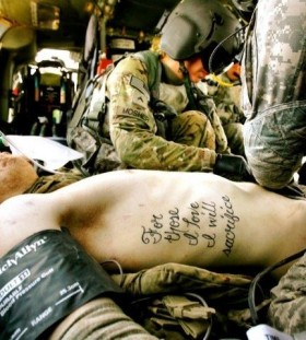 Realistic military style tattoos
