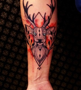 Red deer tattoo by Tyago Compiani