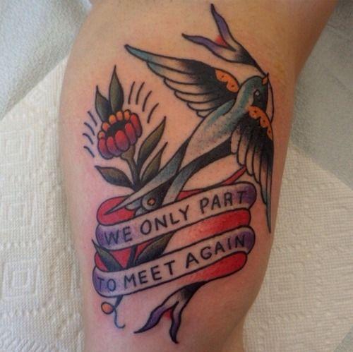 Red flower and bird tattoo by Dustin Barnhart