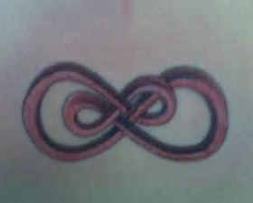 Red infinity tattoo