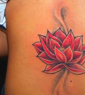 Red lotus flower tattoo
