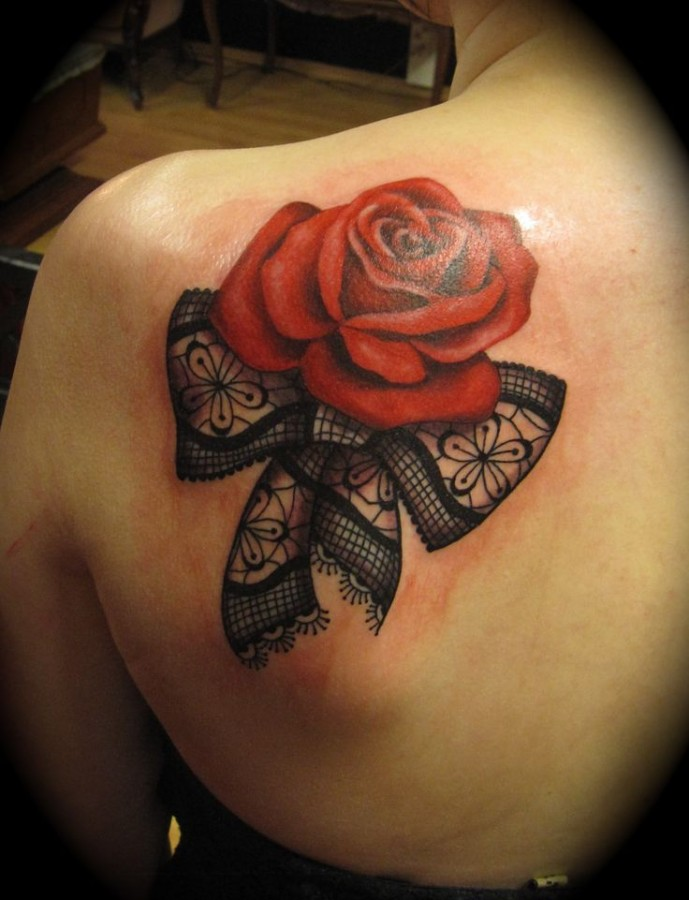 Red rose and bow lace tattoo