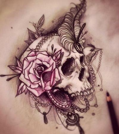 Crystal Skull Tattoo Rose And Skull Tattoo