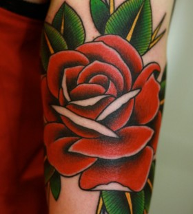 Rose red tattoo