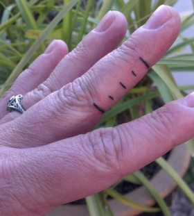Short fingers lines tattoo