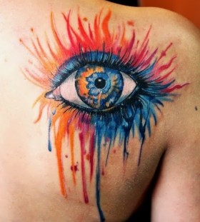 Shoulder blue eye tattoo